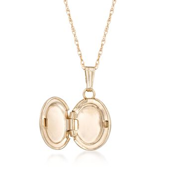 """Single Initial - Child's 14kt Yellow Gold Oval Locket Necklace. 13"""", , default"""
