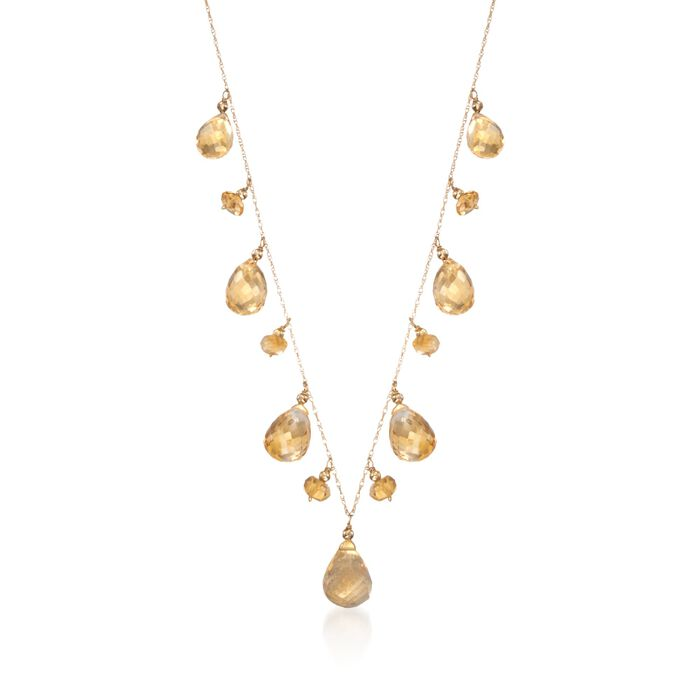 35.00 ct. t.w. Citrine Drop Necklace in 14kt Yellow Gold, , default