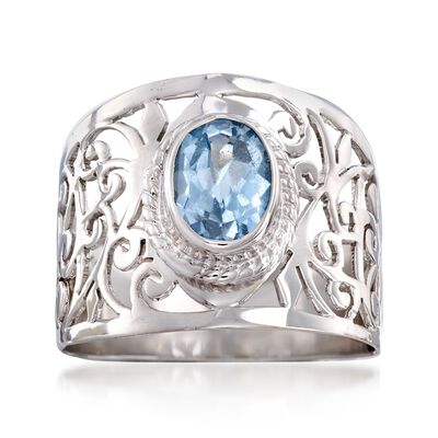 2.50 Carat Blue Topaz Open Scrollwork Ring in Sterling Silver, , default