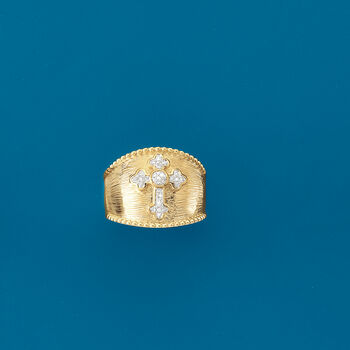 .10 ct. t.w. Diamond Cross Ring in 18kt Gold Over Sterling, , default