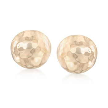 14kt Yellow Gold Hammered Small Half Dome Clip-On Earrings, , default