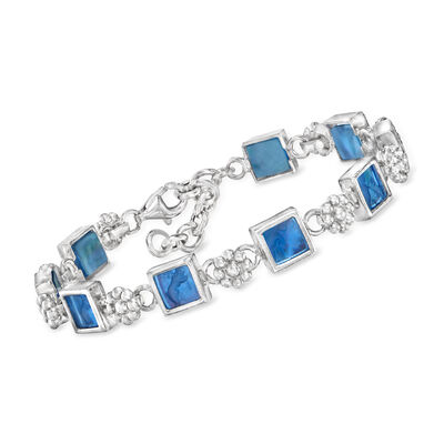 Italian Blue Venetian Glass and Mother-Of-Pearl Bracelet in Sterling Silver
