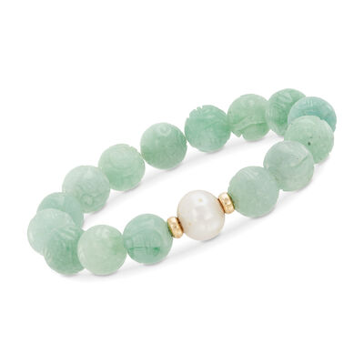 "11-12mm Cultured Pearl and Carved Green Jade Chinese ""Dragon"" Bead Stretch Bracelet with 14kt Gold"