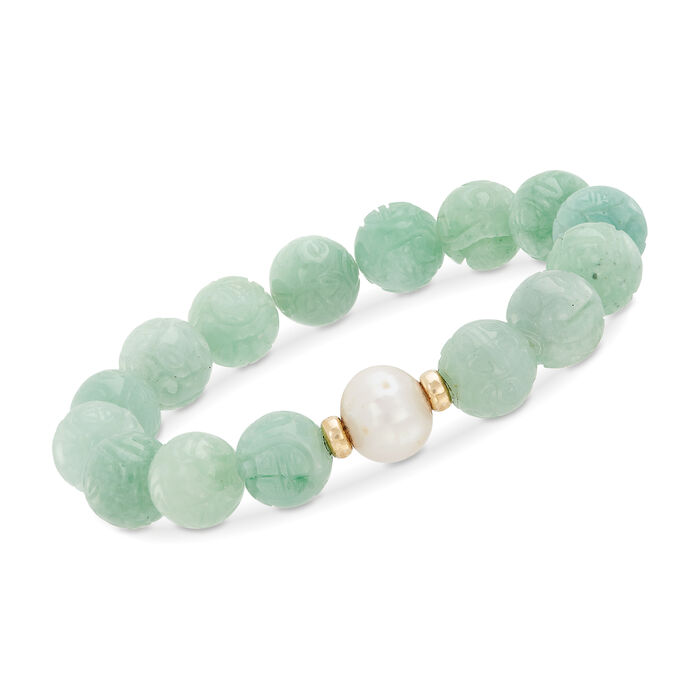 """11-12mm Cultured Pearl and Carved Green Jade Chinese """"Dragon"""" Bead Stretch Bracelet with 14kt Gold. 7"""""""