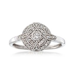 .19 ct. t.w. Diamond Milgrain Circle Ring in Sterling Silver, , default