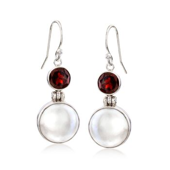 2.50 ct. t.w. Garnet and 13mm Cultured Mabe Pearl Drop Earrings in Sterling Silver, , default