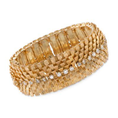 C. 1970 Vintage 2.80 ct. t.w. Diamond Wide Textured Bracelet in 18kt Yellow Gold, , default