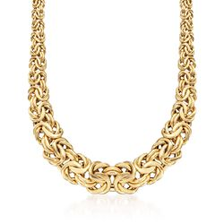 Italian 18kt Yellow Gold Graduated Byzantine Necklace, , default