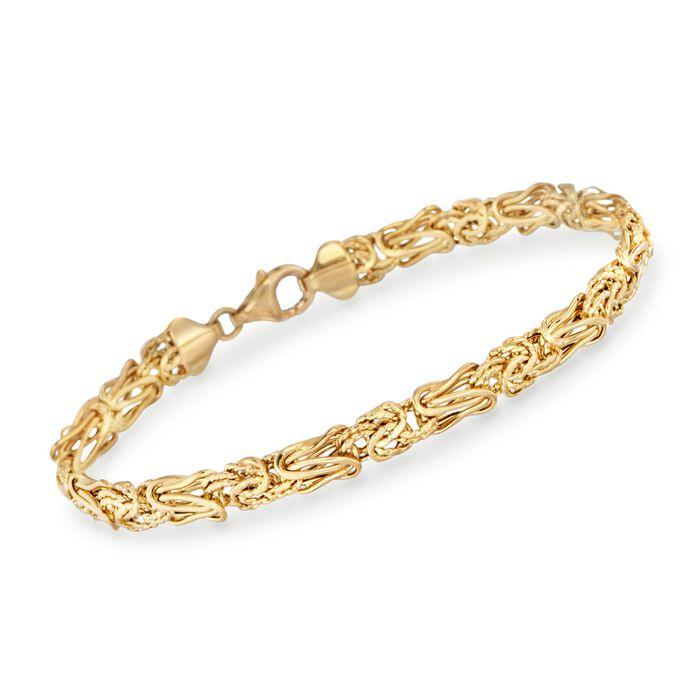 "14kt Yellow Gold Textured and Polished Elongated Byzantine Bracelet. 7.5"", , default"