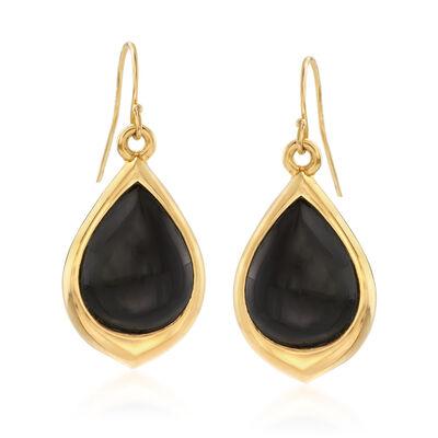 Andiamo Black Onyx Teardrop Earrings in 14kt Gold Over Resin, , default