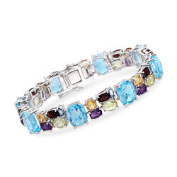 36.50 ct. t.w. Multi-Stone Mosaic Bracelet in Sterling Silver, , default