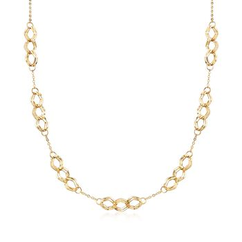 "Italian 14kt Yellow Gold Triple Link Station Necklace. 20"", , default"