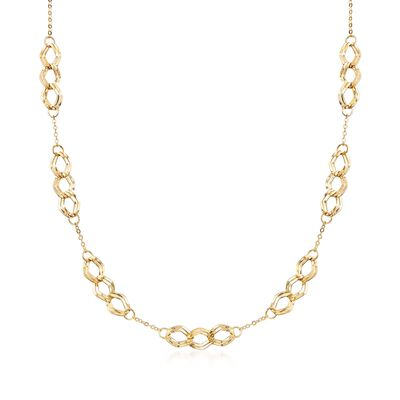 Italian 14kt Yellow Gold Triple Link Station Necklace, , default