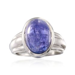 8.00 Carat Cabochon Tanzanite Ring in Sterling Silver, , default