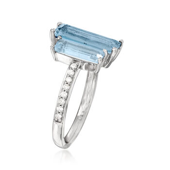 3.30 ct. t.w. Blue Topaz and .14 ct. t.w. Diamond Ring in 14kt White Gold