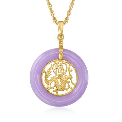 "Lavender Jade ""Good Fortune"" Chinese Symbol Circle Pendant Necklace in 18kt Gold Over Sterling"