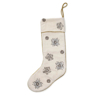 Joanna Buchanan Velvet and Beaded Snowflake Stocking, , default