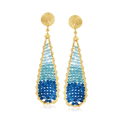 Blue Jade, Blue Chalcedony and 10.00 ct. t.w. Blue Apatite Teardrop Earrings in 18kt Gold Over Sterling, , default