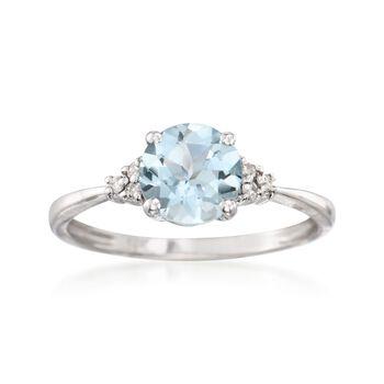 1.00 Carat Aquamarine Ring With Diamonds in 14kt White Gold , , default