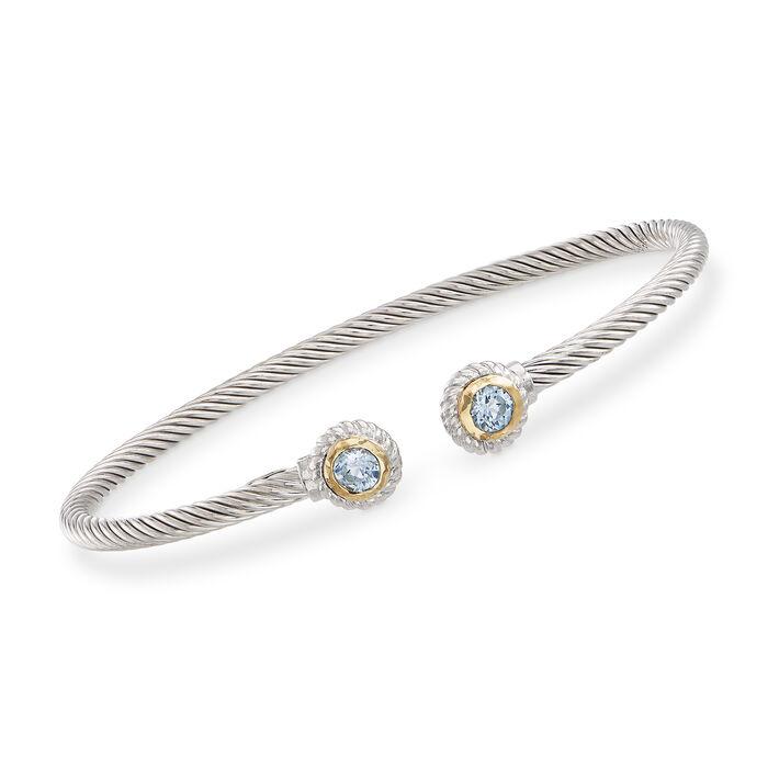 "Phillip Gavriel ""Italian Cable"" .60 ct. t.w. Blue Topaz Sterling Silver Cuff Bracelet with 18kt Gold. 7"""