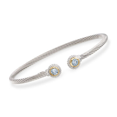 "Phillip Gavriel ""Italian Cable"" .60 ct. t.w. Blue Topaz Sterling Silver Cuff Bracelet with 18kt Gold, , default"