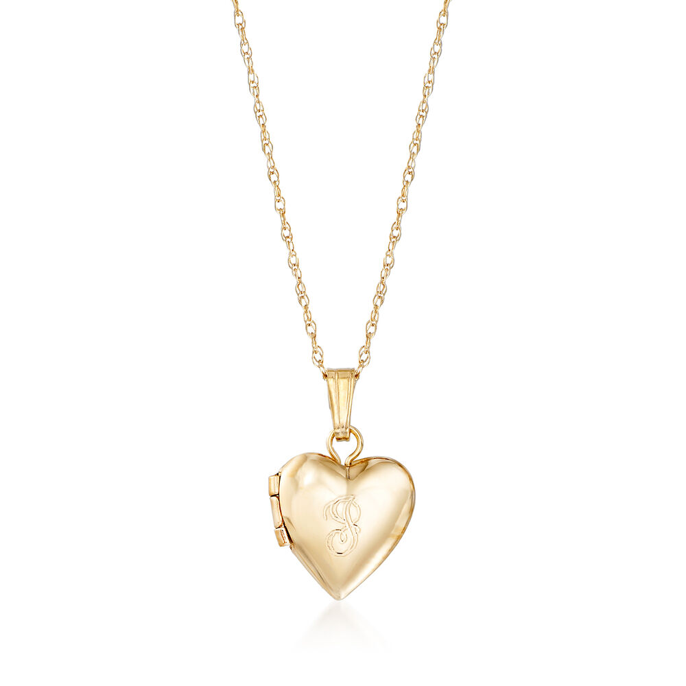 """5ce1498c51 Baby's 14kt Yellow Gold Single Initial Heart Locket Necklace. 13"""", ,  default"""