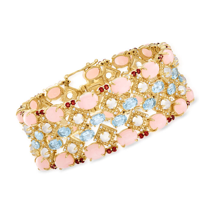 Pink Opal and 24.45 ct. t.w. Multi-Gemstone Bracelet in 18kt Gold Over Sterling