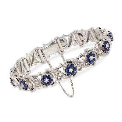 C. 1990 Vintage 2.40 ct. t.w. Sapphire and 1.00 ct. t.w. Diamond Floral Bracelet in 18kt White Gold, , default