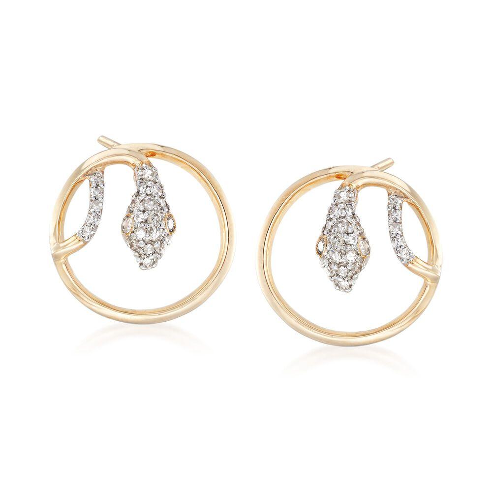 T W Diamond Circle Snake Earrings In 14kt Yellow Gold Default
