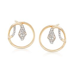 .20 ct. t.w. Diamond Circle Snake Earrings in 14kt Yellow Gold , , default