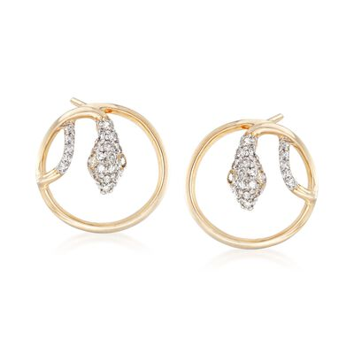.20 ct. t.w. Diamond Circle Snake Earrings in 14kt Yellow Gold, , default