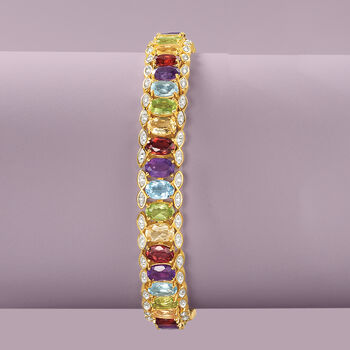 16.20 ct. t.w. Multi-Stone Bracelet with Diamond Accent in Two-Tone Sterling Silver, , default