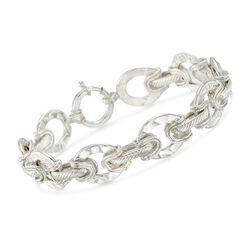 Sterling Silver Oval Link Bracelet, , default