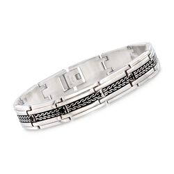 "Men's Stainless Steel Link Bracelet With Black Enamel. 8.5"", , default"