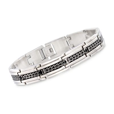 Men's Stainless Steel Link Bracelet With Black Enamel, , default