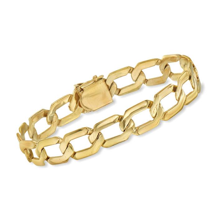 """C. 1980 Vintage 14kt Yellow Gold Link Bracelet. 7.5"""""""