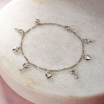 "Sterling Silver Heart and Key Charm Anklet. 10"", , default"