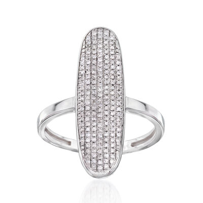 .23 ct. t.w. Pave Diamond Oval-Shaped Ring in 14kt White Gold, , default