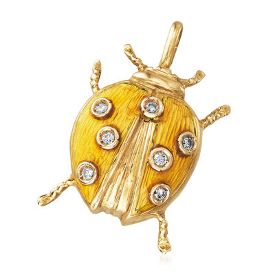 C. 1980 Vintage Yellow Enamel and .10 ct. t.w. Diamond Ladybug Pin Pendant in 18kt Yellow Gold, , default