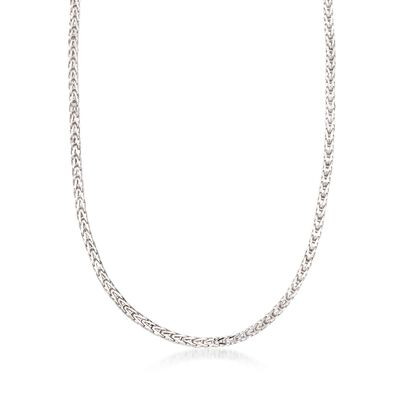 4mm Sterling Silver Boxed Wheat Chain Necklace, , default