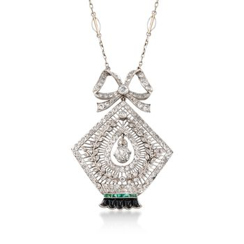 "C. 1935 Vintage 3.00 ct. t.w. Diamond and Black Onyx Necklace With Emeralds in Platinum and 14kt White Gold. 17"", , default"