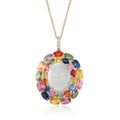 Opal, 11.40 ct. t.w. Multicolored Sapphire and .39 ct. t.w. Diamond Pendant Necklace in 18kt Yellow Gold, , default