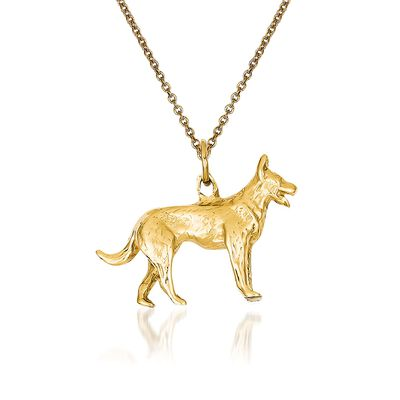 14kt Yellow Gold German Shepherd Pendant Necklace, , default