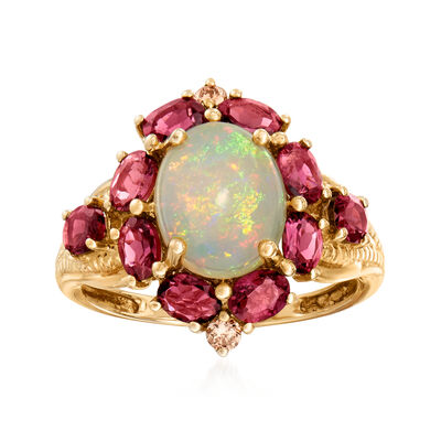 White Opal and 1.70 ct. t.w. Pink Tourmaline Ring with Diamond Accents in 14kt Yellow Gold