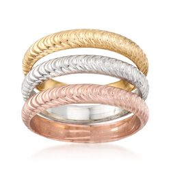 Tri-Colored Sterling Silver Ripple-Textured Jewelry Set: Three Stackable Rings, , default