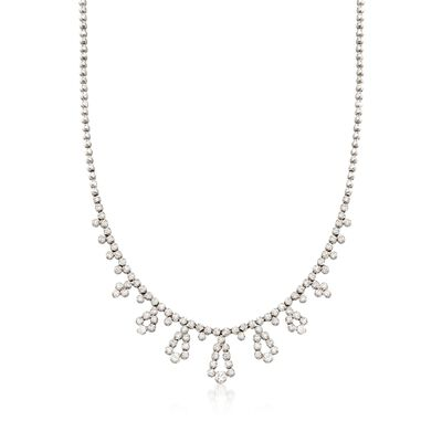 C. 1990 Vintage 3.75 ct. t.w. Diamond Drop Station Necklace in 18kt White Gold, , default