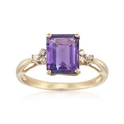 2.60 Carat Amethyst Ring With Diamond Accents in 14kt Yellow Gold, , default