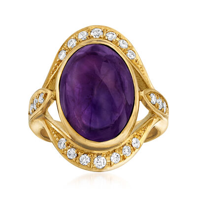 C. 1990 Vintage 8.75 Carat Amethyst and .36 ct. t.w. Diamond Ring in 18kt Yellow Gold, , default