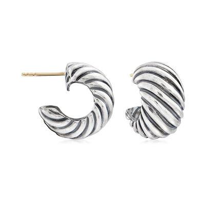 C. 1990 Vintage David Yurman Fluted Hoop Earrings in Sterling Silver, , default