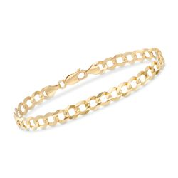 Men's 7mm 14kt Yellow Gold Faceted Curb-Link Chain Bracelet, , default
